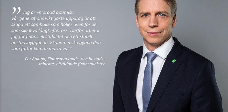 Per Bolund ny bostadsminister på finansdepartementet